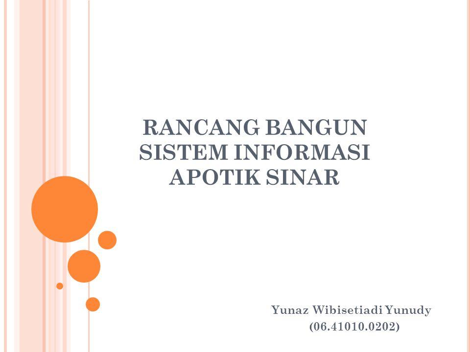 RANCANG BANGUN SISTEM INFORMASI APOTIK SINAR Yunaz Wibisetiadi Yunudy (06.41010.0202)