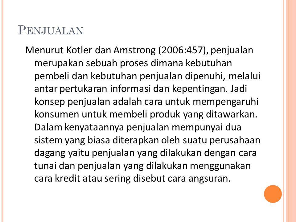 P ENJUALAN Menurut Kotler dan Amstrong (2006:457), penjualan merupakan sebuah proses dimana kebutuhan pembeli dan kebutuhan penjualan dipenuhi, melalu