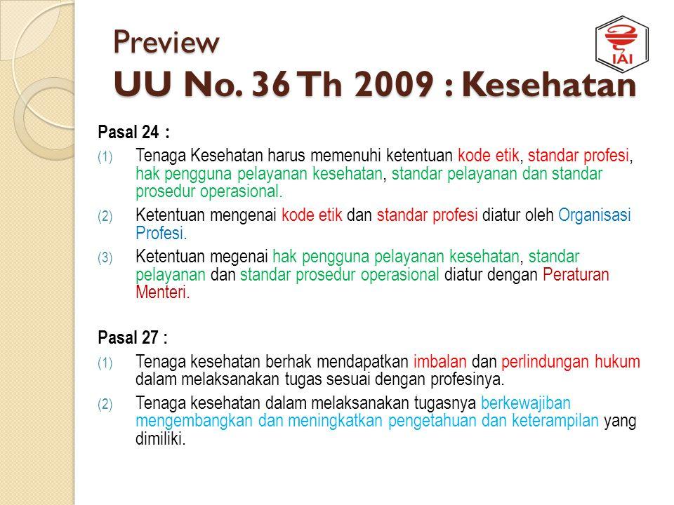 Preview UU No. 36 Th 2009 : Kesehatan Pasal 22 : Tenaga kesehatan harus memiliki kualifikasi minimum Pasal 23 : (1) Tenaga kesehatan berwenang untuk m