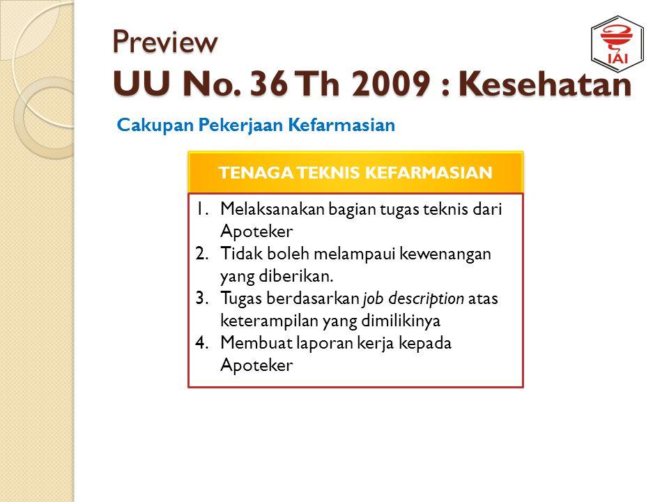 Preview UU No. 36 Th 2009 : Kesehatan Cakupan Pekerjaan Kefarmasian TENAGA TEKNIS KEFARMASIAN Sub/bagian dari fungsi-fungsi :