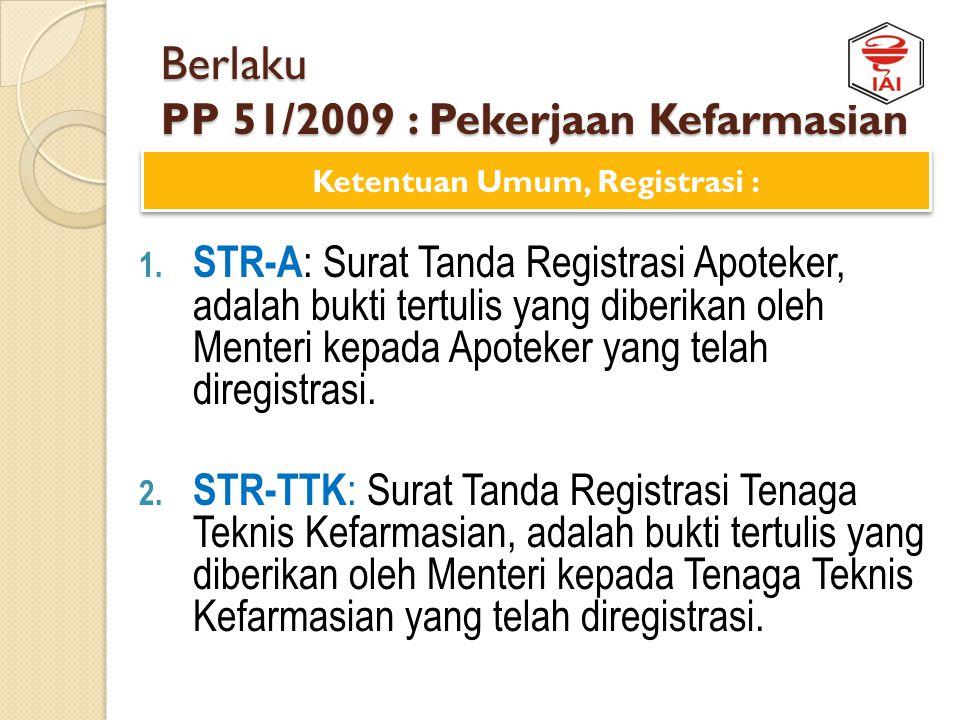 Berlaku PP 51/2009 : Pekerjaan Kefarmasian 1. Organisasi Profesi : Organisasi tempat berhimpun para Apoteker di Indonesia. 2. Asosiasi : perhimpunan d