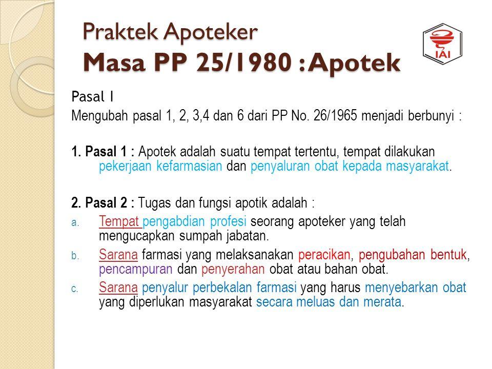 TATAKELOLA PRAKTEK APOTEKER Jaman Pra Sejarah APOTEKER PRAKTEK PP 25/1980 PP 26/1965