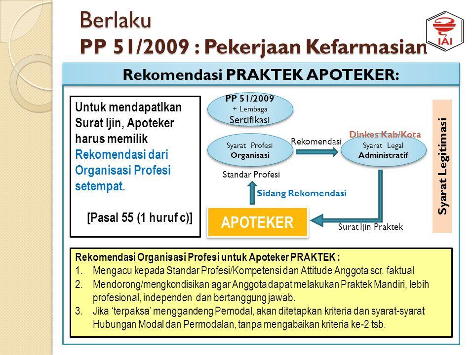 Berlaku PP 51/2009 : Pekerjaan Kefarmasian Perijinan PRAKTEK APOTEKER: APOTEKER Syarat Legal Status Syarat Legal Administratif Syarat Profesi Organisa