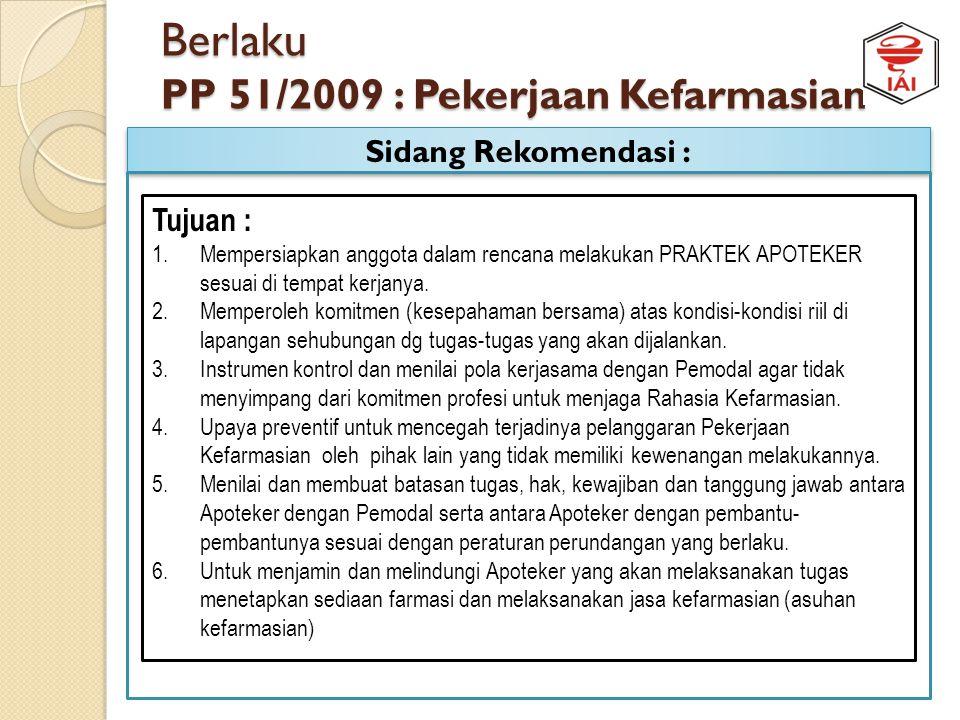 Berlaku PP 51/2009 : Pekerjaan Kefarmasian Rekomendasi PRAKTEK APOTEKER: APOTEKER Syarat Legal Administratif Syarat Profesi Organisasi Standar Profesi