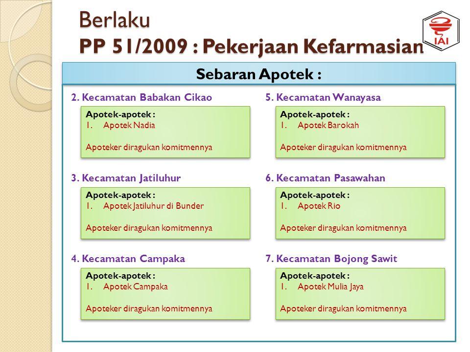 Berlaku PP 51/2009 : Pekerjaan Kefarmasian Sebaran Apotek : 1. Kecamatan Purwakarta Apotek-apotek : 1.Apotek NUSINDO FARMA 1 2.Apotek Kamala Dewi 3.Ap