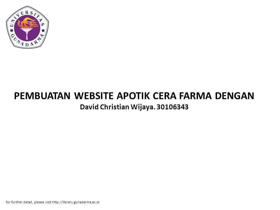 PEMBUATAN WEBSITE APOTIK CERA FARMA DENGAN David Christian Wijaya.