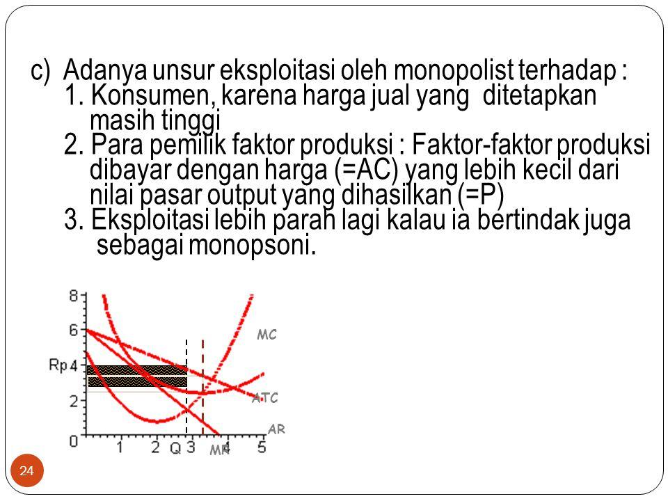 c) Adanya unsur eksploitasi oleh monopolist terhadap : 1. Konsumen, karena harga jual yang ditetapkan masih tinggi 2. Para pemilik faktor produksi : F