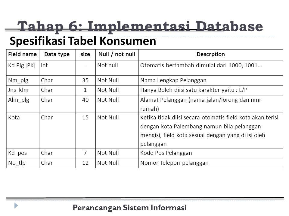 Perancangan Sistem Informasi Tahap 6: Implementasi Database Field nameData typesizeNull / not nullDescrption Kd Plg [PK]Int-Not nullOtomatis bertambah dimulai dari 1000, 1001… Nm_plgChar35Not NullNama Lengkap Pelanggan Jns_klmChar1Not NullHanya Boleh diisi satu karakter yaitu : L/P Alm_plgChar40Not Null Alamat Pelanggan (nama jalan/lorong dan nmr rumah) KotaChar15Not Null Ketika tidak diisi secara otomatis field kota akan terisi dengan kota Palembang namun bila pelanggan mengisi, field kota sesuai dengan yang di isi oleh pelanggan Kd_posChar7Not NullKode Pos Pelanggan No_tlpChar12Not NullNomor Telepon pelanggan Spesifikasi Tabel Konsumen