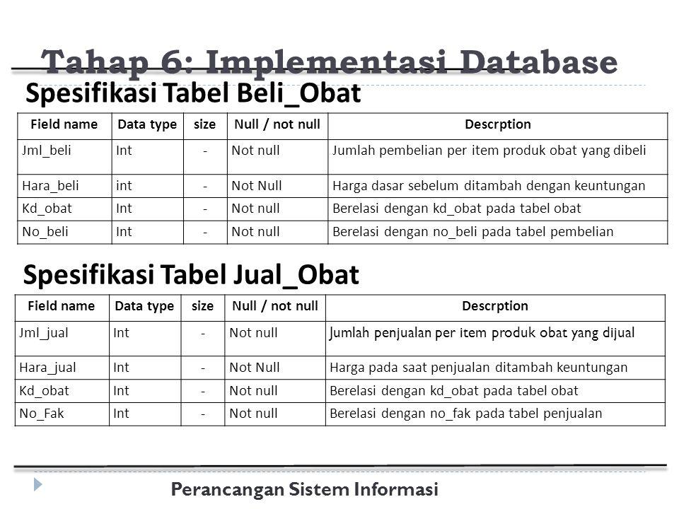Perancangan Sistem Informasi Field nameData typesizeNull / not nullDescrption Jml_beliInt-Not nullJumlah pembelian per item produk obat yang dibeli Hara_beliint-Not NullHarga dasar sebelum ditambah dengan keuntungan Kd_obatInt-Not nullBerelasi dengan kd_obat pada tabel obat No_beliInt-Not nullBerelasi dengan no_beli pada tabel pembelian Spesifikasi Tabel Beli_Obat Tahap 6: Implementasi Database Field nameData typesizeNull / not nullDescrption Jml_jualInt-Not null Jumlah penjualan per item produk obat yang dijual Hara_jualInt-Not NullHarga pada saat penjualan ditambah keuntungan Kd_obatInt-Not nullBerelasi dengan kd_obat pada tabel obat No_FakInt-Not nullBerelasi dengan no_fak pada tabel penjualan Spesifikasi Tabel Jual_Obat