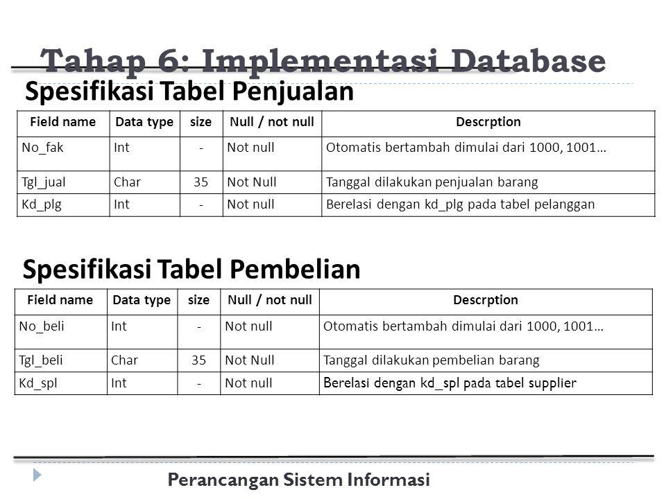 Perancangan Sistem Informasi Field nameData typesizeNull / not nullDescrption No_fakInt-Not nullOtomatis bertambah dimulai dari 1000, 1001… Tgl_jualChar35Not NullTanggal dilakukan penjualan barang Kd_plgInt-Not nullBerelasi dengan kd_plg pada tabel pelanggan Spesifikasi Tabel Penjualan Tahap 6: Implementasi Database Field nameData typesizeNull / not nullDescrption No_beliInt-Not nullOtomatis bertambah dimulai dari 1000, 1001… Tgl_beliChar35Not NullTanggal dilakukan pembelian barang Kd_splInt-Not null Berelasi dengan kd_spl pada tabel supplier Spesifikasi Tabel Pembelian
