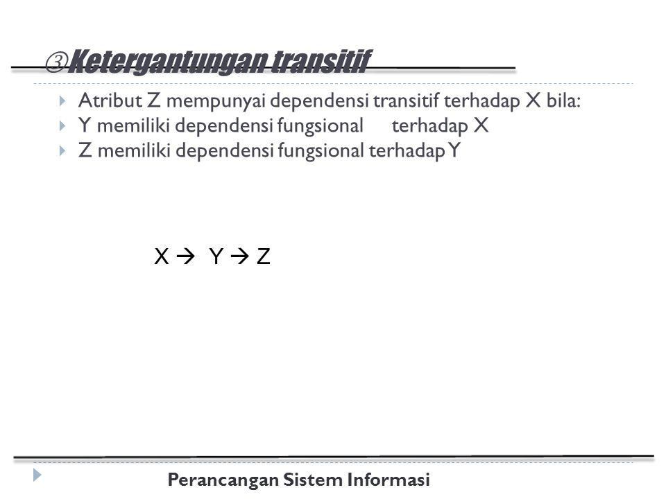 Perancangan Sistem Informasi Ketergantungan transitif  Atribut Z mempunyai dependensi transitif terhadap X bila:  Y memiliki dependensi fungsional terhadap X  Z memiliki dependensi fungsional terhadap Y X  Y  Z