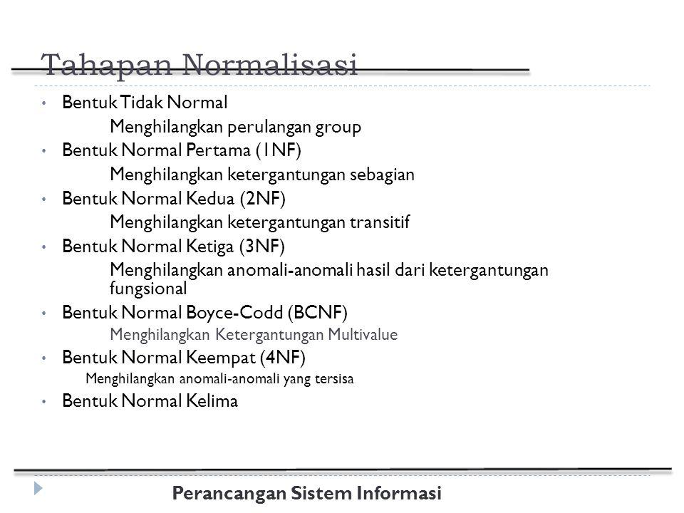 Perancangan Sistem Informasi Tahapan Normalisasi Bentuk Tidak Normal Menghilangkan perulangan group Bentuk Normal Pertama (1NF) Menghilangkan ketergantungan sebagian Bentuk Normal Kedua (2NF) Menghilangkan ketergantungan transitif Bentuk Normal Ketiga (3NF) Menghilangkan anomali-anomali hasil dari ketergantungan fungsional Bentuk Normal Boyce-Codd (BCNF) Menghilangkan Ketergantungan Multivalue Bentuk Normal Keempat (4NF) Menghilangkan anomali-anomali yang tersisa Bentuk Normal Kelima