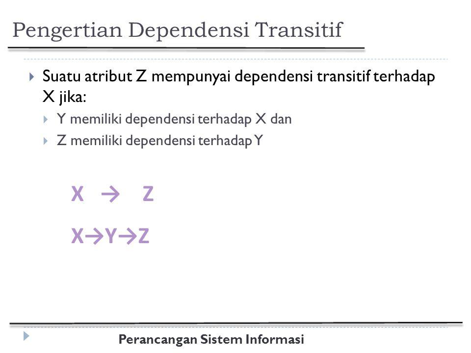 Perancangan Sistem Informasi Pengertian Dependensi Transitif  Suatu atribut Z mempunyai dependensi transitif terhadap X jika:  Y memiliki dependensi terhadap X dan  Z memiliki dependensi terhadap Y X → Z X→Y→Z