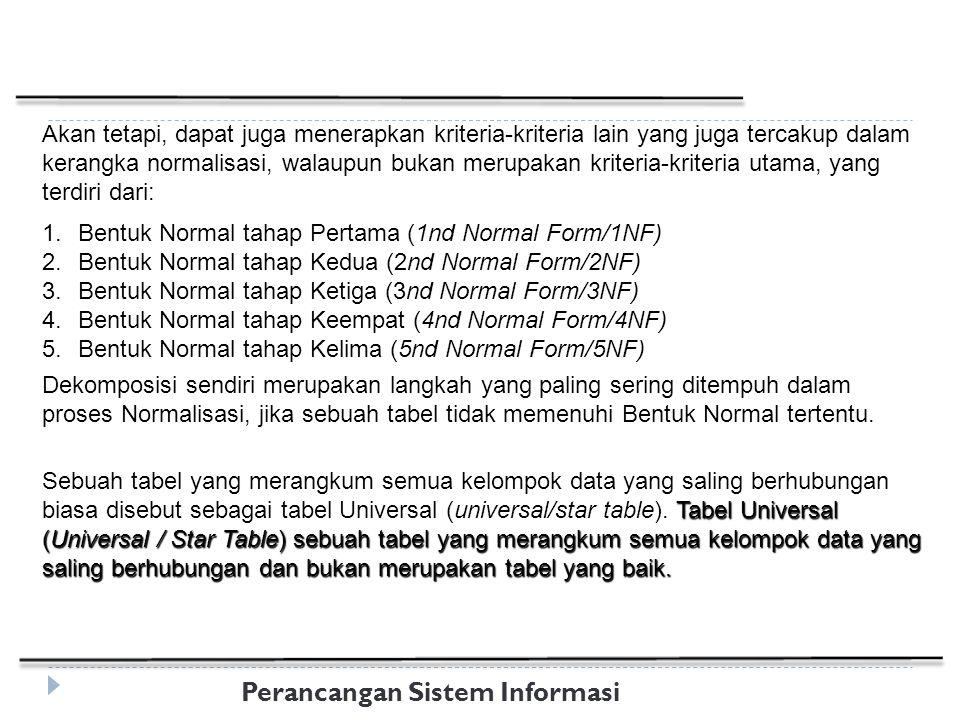 Perancangan Sistem Informasi Akan tetapi, dapat juga menerapkan kriteria-kriteria lain yang juga tercakup dalam kerangka normalisasi, walaupun bukan merupakan kriteria-kriteria utama, yang terdiri dari: 1.Bentuk Normal tahap Pertama (1nd Normal Form/1NF) 2.Bentuk Normal tahap Kedua (2nd Normal Form/2NF) 3.Bentuk Normal tahap Ketiga (3nd Normal Form/3NF) 4.Bentuk Normal tahap Keempat (4nd Normal Form/4NF) 5.Bentuk Normal tahap Kelima (5nd Normal Form/5NF) Dekomposisi sendiri merupakan langkah yang paling sering ditempuh dalam proses Normalisasi, jika sebuah tabel tidak memenuhi Bentuk Normal tertentu.