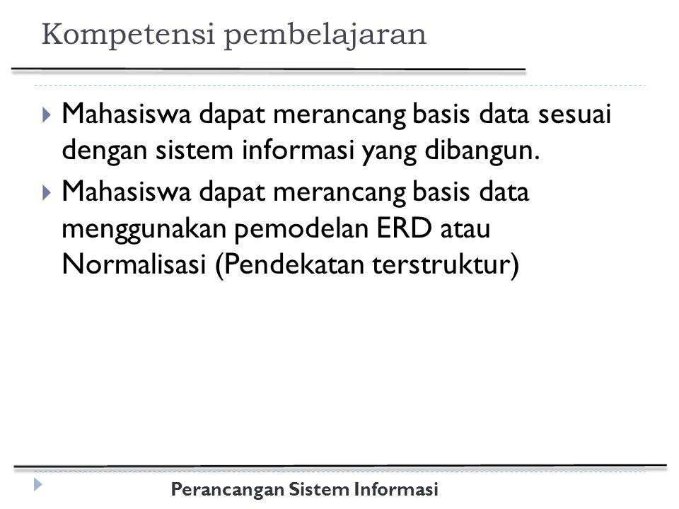 Perancangan Sistem Informasi Materi  Konsep Sistem Basis Data  Keuntungan dan kerugian basis data  Peranan Basis Data dalam Sistem Informasi  Fungsi dan Tujuan Perancangan Basis Data  Abstraksi Data  Rancangan Data Logis  Rancangan Database menggunakan pemodelan ER-Diagram  Rancangan Database menggunakan Teknik Normalisasi  Rancangan Data Fisik  Spesifikasi Tabel