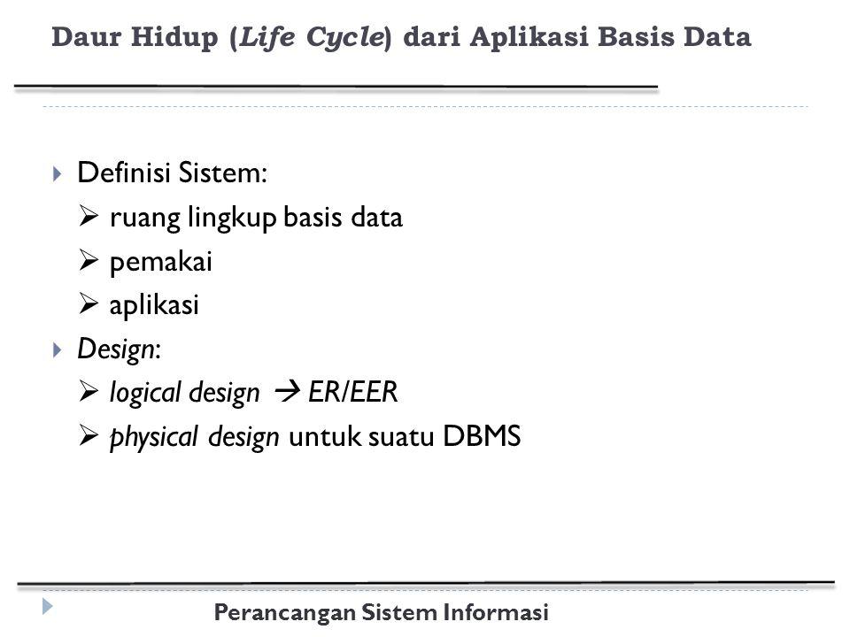 Perancangan Sistem Informasi Daur Hidup ( Life Cycle ) dari Aplikasi Basis Data  Definisi Sistem:  ruang lingkup basis data  pemakai  aplikasi  Design:  logical design  ER/EER  physical design untuk suatu DBMS