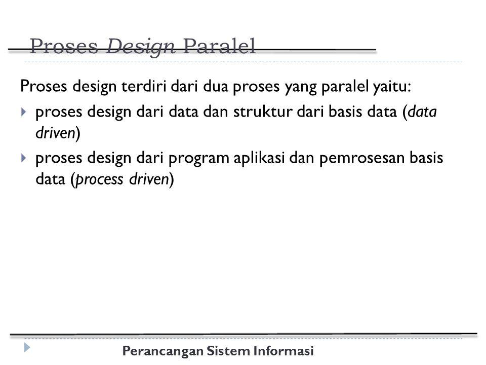 Perancangan Sistem Informasi Proses Design Paralel Proses design terdiri dari dua proses yang paralel yaitu:  proses design dari data dan struktur dari basis data (data driven)  proses design dari program aplikasi dan pemrosesan basis data (process driven)