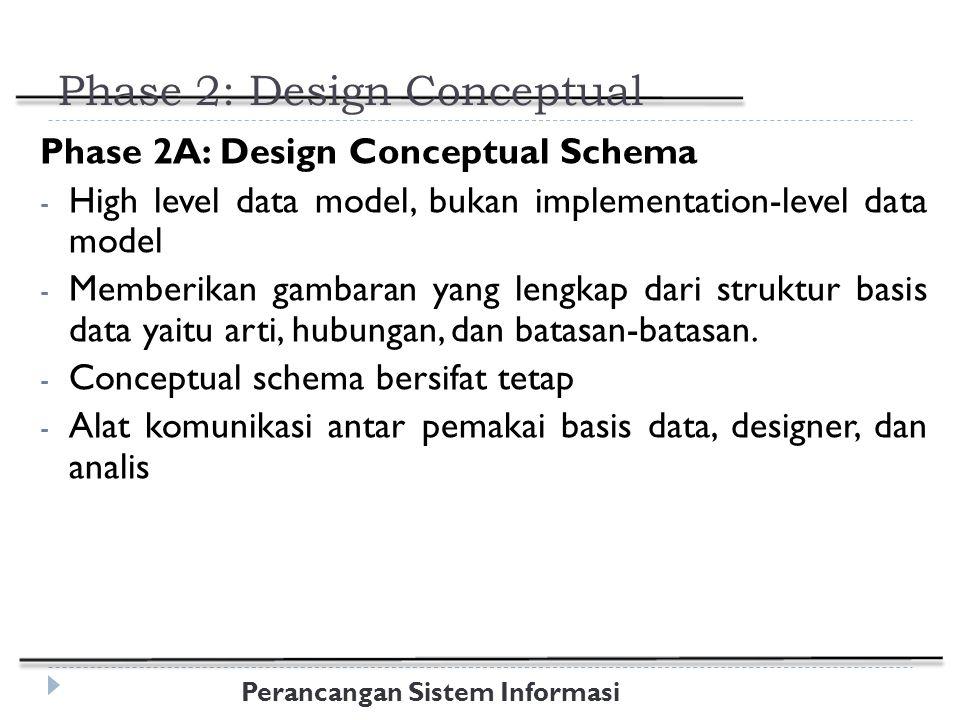 Perancangan Sistem Informasi Phase 2: Design Conceptual Phase 2A: Design Conceptual Schema - High level data model, bukan implementation-level data model - Memberikan gambaran yang lengkap dari struktur basis data yaitu arti, hubungan, dan batasan-batasan.