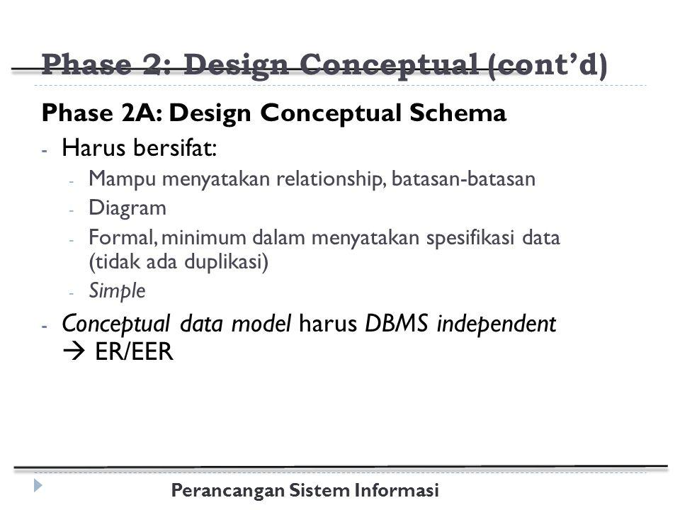 Perancangan Sistem Informasi Phase 2: Design Conceptual (cont'd) Phase 2A: Design Conceptual Schema - Harus bersifat: - Mampu menyatakan relationship, batasan-batasan - Diagram - Formal, minimum dalam menyatakan spesifikasi data (tidak ada duplikasi) - Simple - Conceptual data model harus DBMS independent  ER/EER