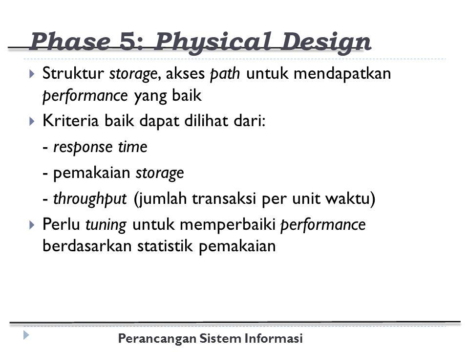 Perancangan Sistem Informasi Phase 5: Physical Design  Struktur storage, akses path untuk mendapatkan performance yang baik  Kriteria baik dapat dilihat dari: - response time - pemakaian storage - throughput (jumlah transaksi per unit waktu)  Perlu tuning untuk memperbaiki performance berdasarkan statistik pemakaian