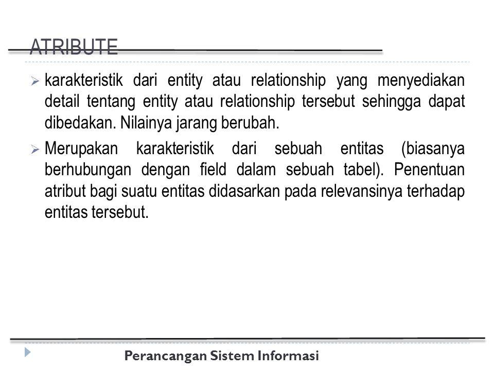 Perancangan Sistem Informasi ATRIBUTE  karakteristik dari entity atau relationship yang menyediakan detail tentang entity atau relationship tersebut sehingga dapat dibedakan.