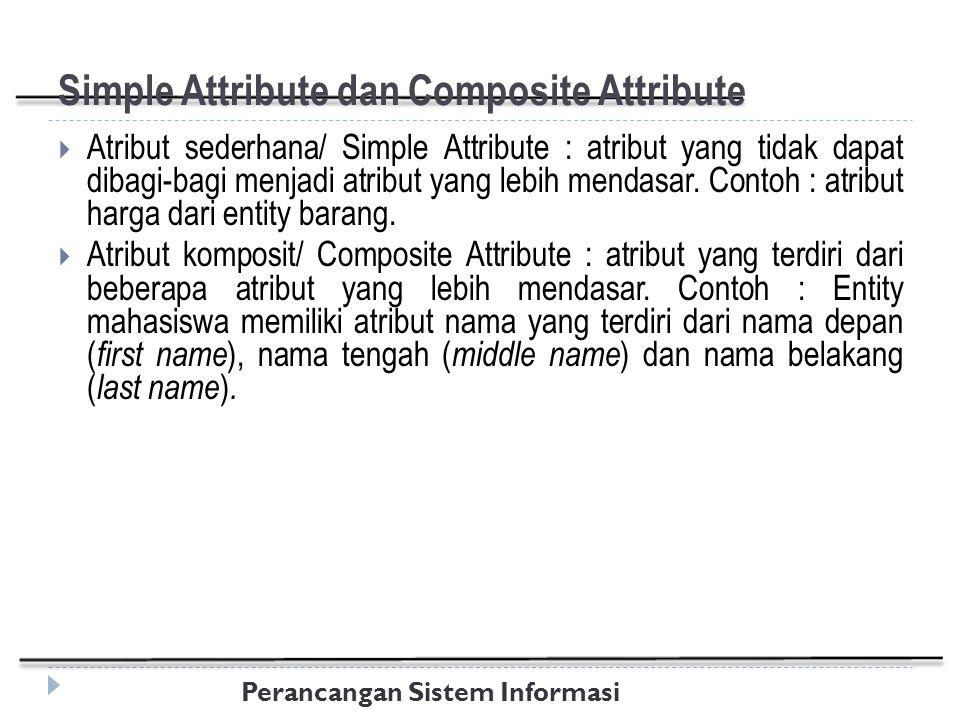 Perancangan Sistem Informasi Simple Attribute dan Composite Attribute  Atribut sederhana/ Simple Attribute : atribut yang tidak dapat dibagi-bagi menjadi atribut yang lebih mendasar.