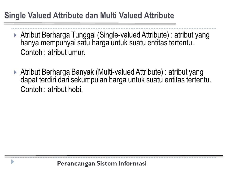 Perancangan Sistem Informasi Single Valued Attribute dan Multi Valued Attribute  Atribut Berharga Tunggal (Single-valued Attribute) : atribut yang hanya mempunyai satu harga untuk suatu entitas tertentu.