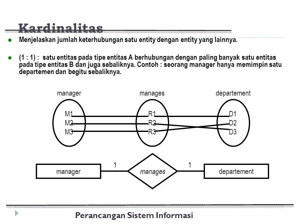 Perancangan Sistem Informasi Kardinalitas Menjelaskan jumlah keterhubungan satu entity dengan entity yang lainnya.