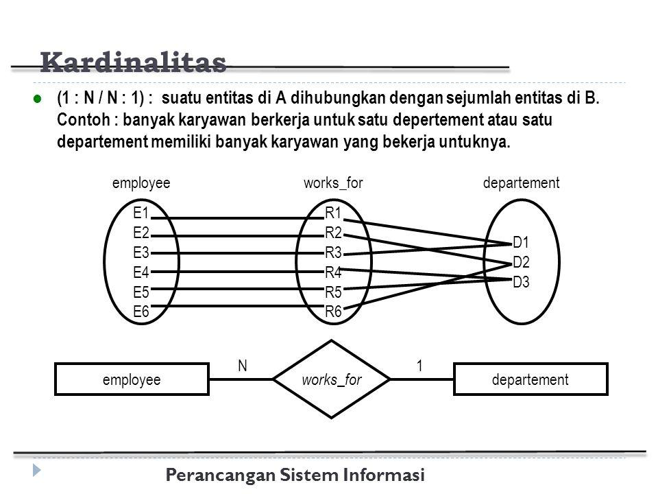 Perancangan Sistem Informasi Kardinalitas (1 : N / N : 1) : suatu entitas di A dihubungkan dengan sejumlah entitas di B.