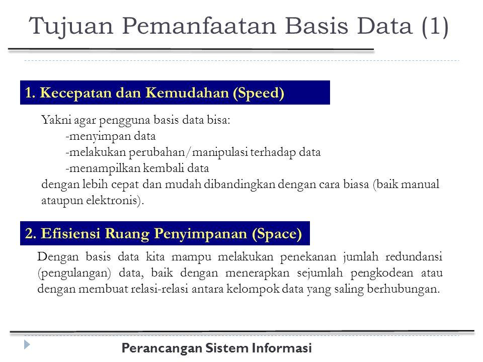 Perancangan Sistem Informasi Tujuan Pemanfaatan Basis Data (2) 3.