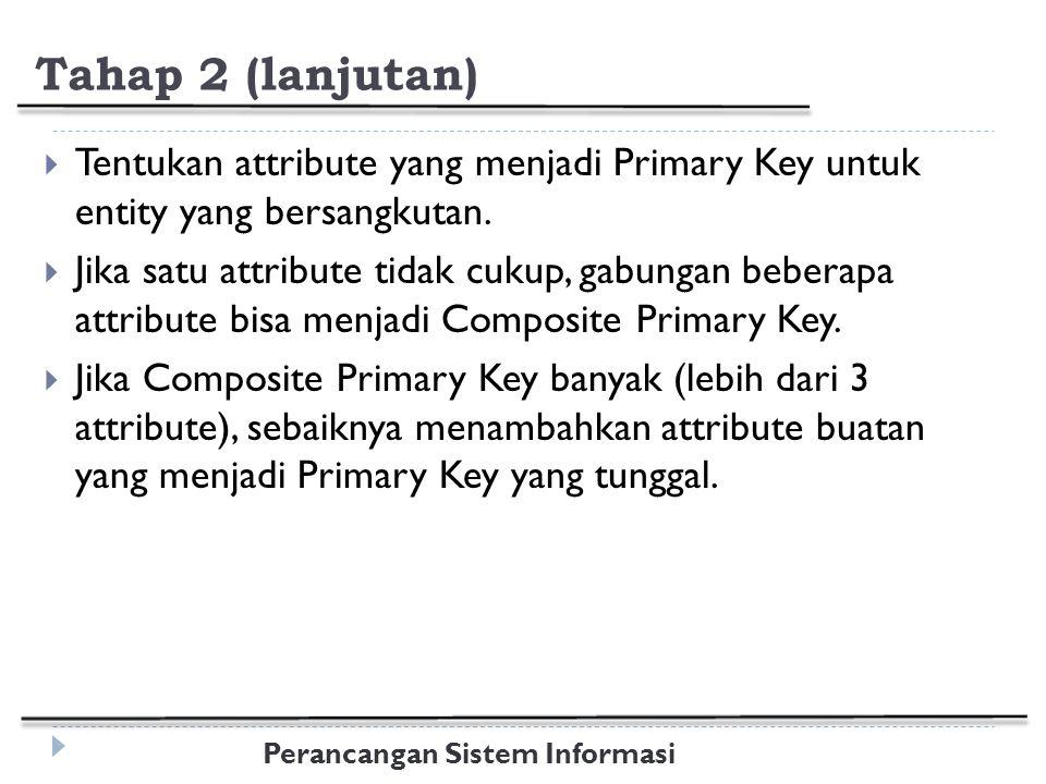 Perancangan Sistem Informasi Tahap 2 (lanjutan)  Tentukan attribute yang menjadi Primary Key untuk entity yang bersangkutan.