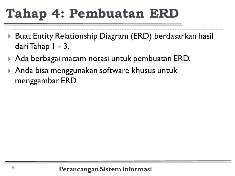 Perancangan Sistem Informasi Tahap 4: Pembuatan ERD  Buat Entity Relationship Diagram (ERD) berdasarkan hasil dari Tahap 1 - 3.
