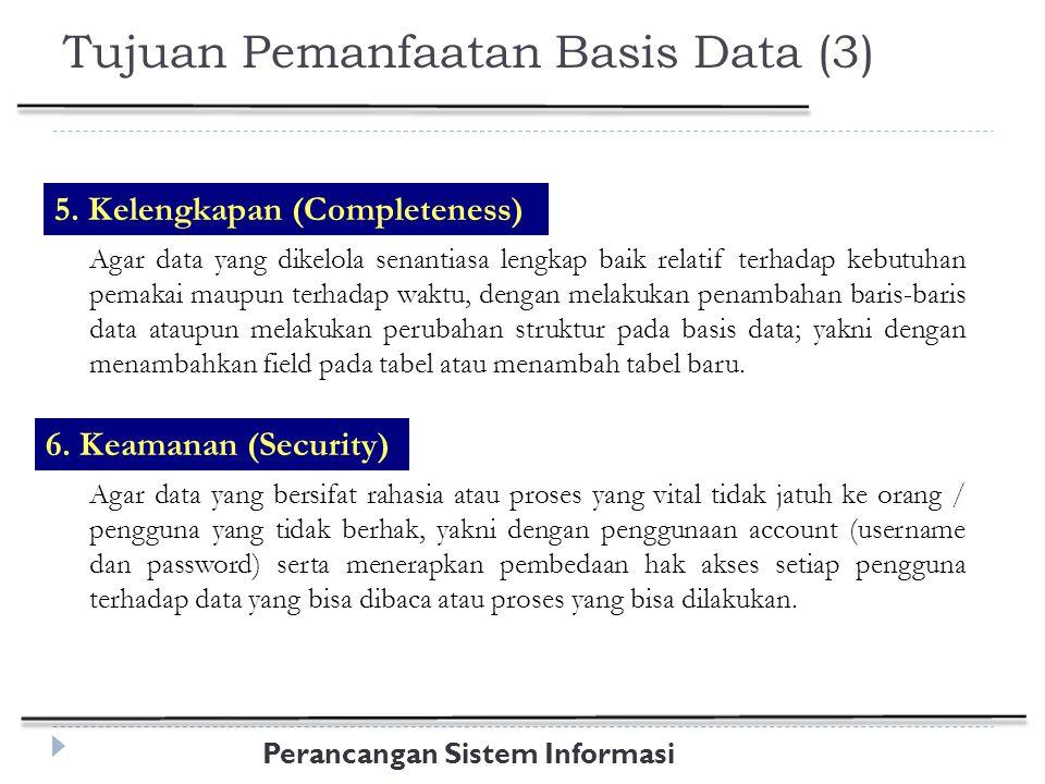 Perancangan Sistem Informasi Daur Hidup ( Life Cycle ) yang Umum dari Aplikasi Basis Data  Definisi Sistem  Database Design  Implementasi  Loading/Konversi Data  Konversi Aplikasi  Testing & Validasi  Operations  Control & Maintenance