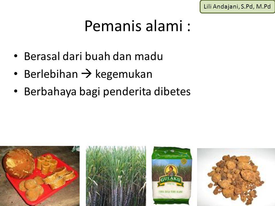 Lili Andajani, S.Pd, M.Pd Pemanis alami : Berasal dari buah dan madu Berlebihan  kegemukan Berbahaya bagi penderita dibetes