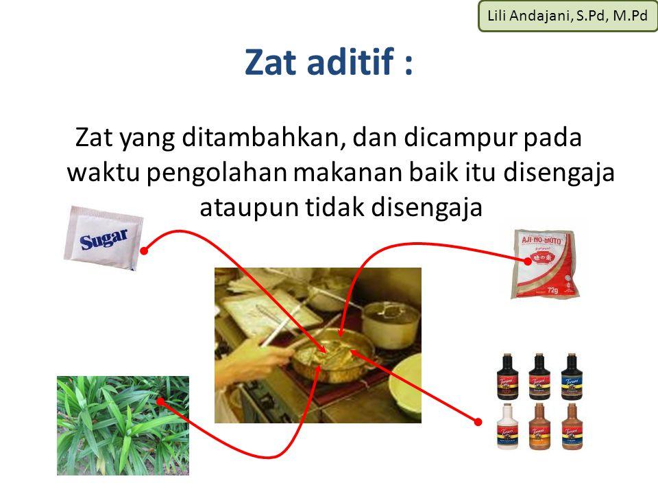 Lili Andajani, S.Pd, M.Pd Zat aditif : Zat yang ditambahkan, dan dicampur pada waktu pengolahan makanan baik itu disengaja ataupun tidak disengaja