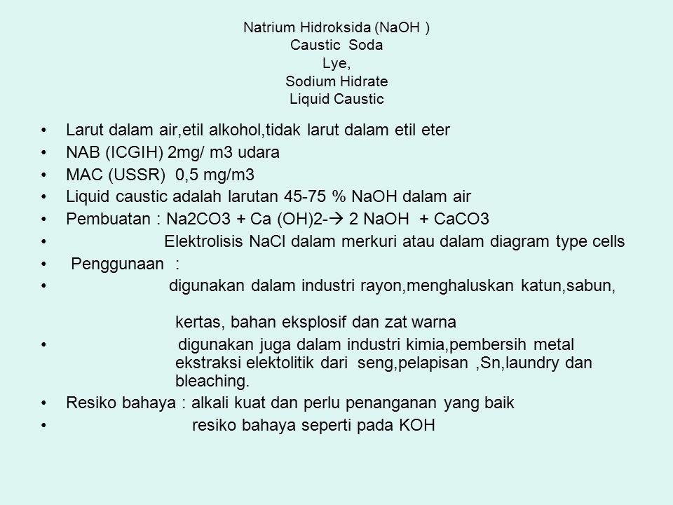 Natrium Hidroksida (NaOH ) Caustic Soda Lye, Sodium Hidrate Liquid Caustic Larut dalam air,etil alkohol,tidak larut dalam etil eter NAB (ICGIH) 2mg/ m3 udara MAC (USSR) 0,5 mg/m3 Liquid caustic adalah larutan 45-75 % NaOH dalam air Pembuatan : Na2CO3 + Ca (OH)2-  2 NaOH + CaCO3 Elektrolisis NaCl dalam merkuri atau dalam diagram type cells Penggunaan : digunakan dalam industri rayon,menghaluskan katun,sabun, kertas, bahan eksplosif dan zat warna digunakan juga dalam industri kimia,pembersih metal ekstraksi elektolitik dari seng,pelapisan,Sn,laundry dan bleaching.