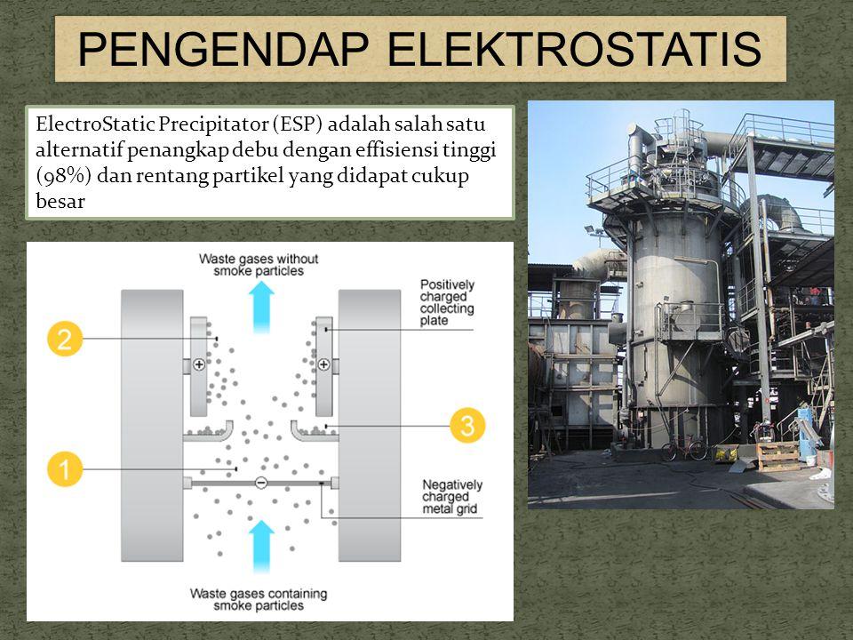 PENGENDAP ELEKTROSTATIS ElectroStatic Precipitator (ESP) adalah salah satu alternatif penangkap debu dengan effisiensi tinggi (98%) dan rentang partikel yang didapat cukup besar