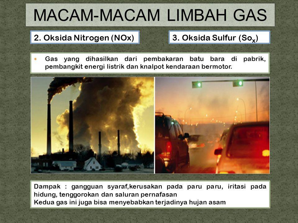 Gas yang dihasilkan dari pembakaran batu bara di pabrik, pembangkit energi listrik dan knalpot kendaraan bermotor.