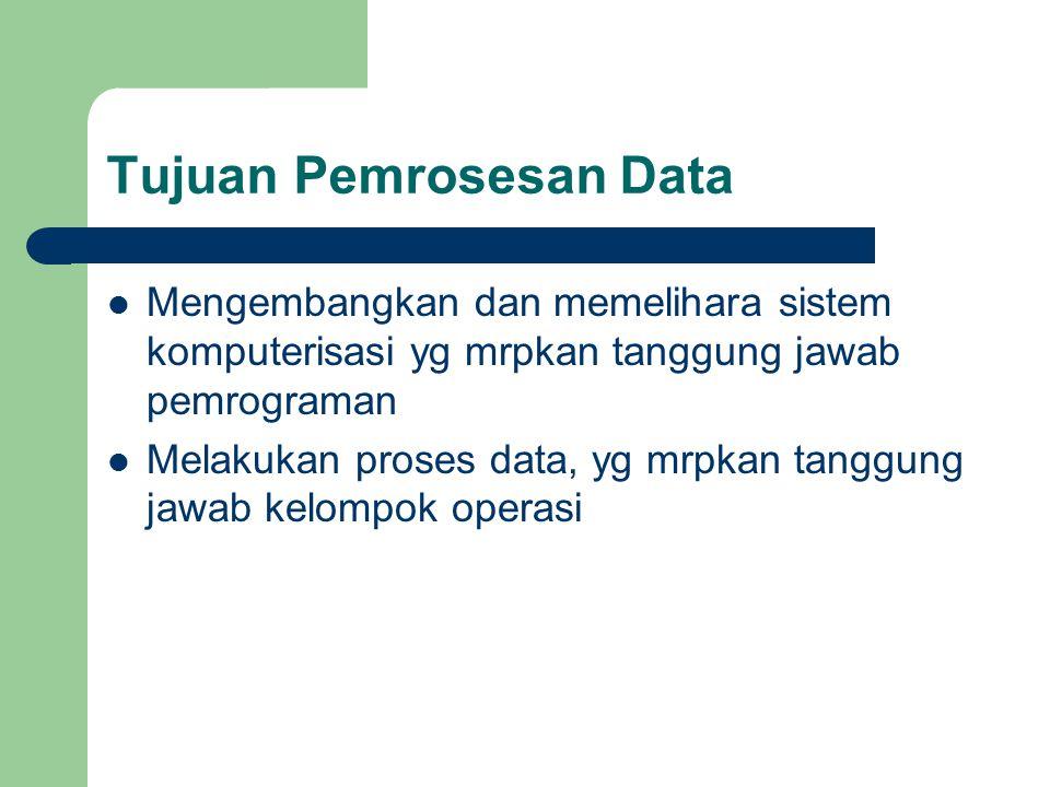 Tujuan Pemrosesan Data Mengembangkan dan memelihara sistem komputerisasi yg mrpkan tanggung jawab pemrograman Melakukan proses data, yg mrpkan tanggun