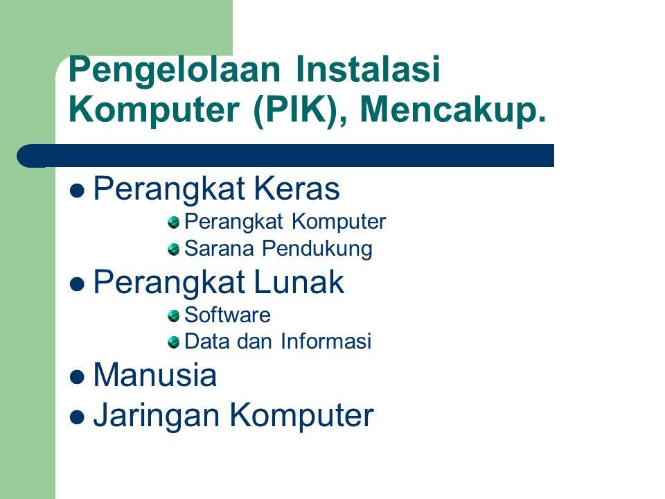 Pengelolaan Instalasi Komputer (PIK), Mencakup. Perangkat Keras Perangkat Komputer Sarana Pendukung Perangkat Lunak Software Data dan Informasi Manusi