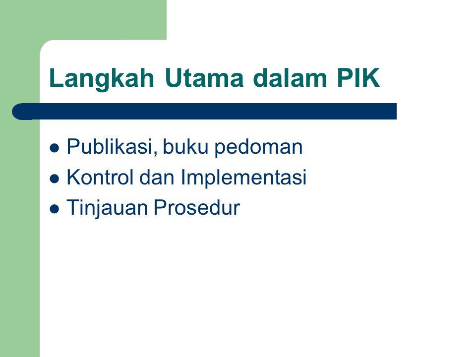 Langkah Utama dalam PIK Publikasi, buku pedoman Kontrol dan Implementasi Tinjauan Prosedur