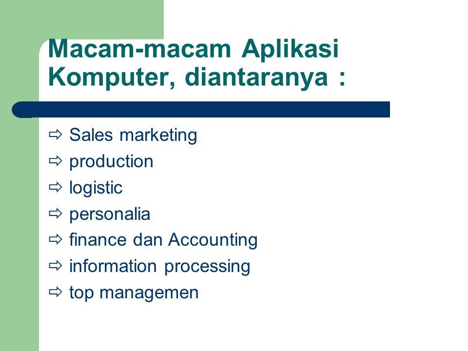 Macam-macam Aplikasi Komputer, diantaranya :  Sales marketing  production  logistic  personalia  finance dan Accounting  information processing