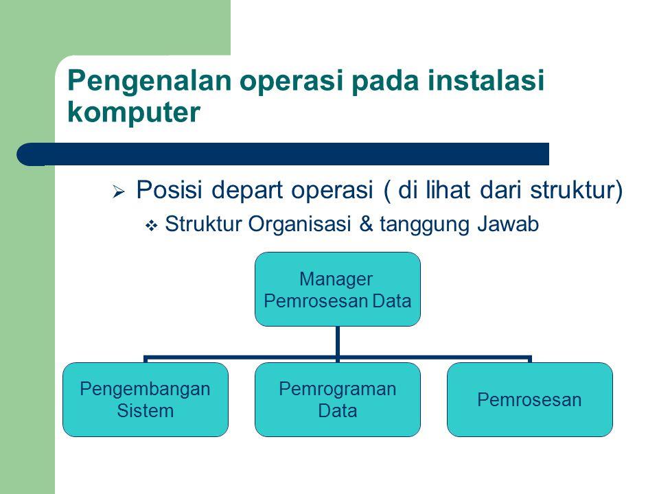 Pengenalan operasi pada instalasi komputer  Posisi depart operasi ( di lihat dari struktur)  Struktur Organisasi & tanggung Jawab Manager Pemrosesan