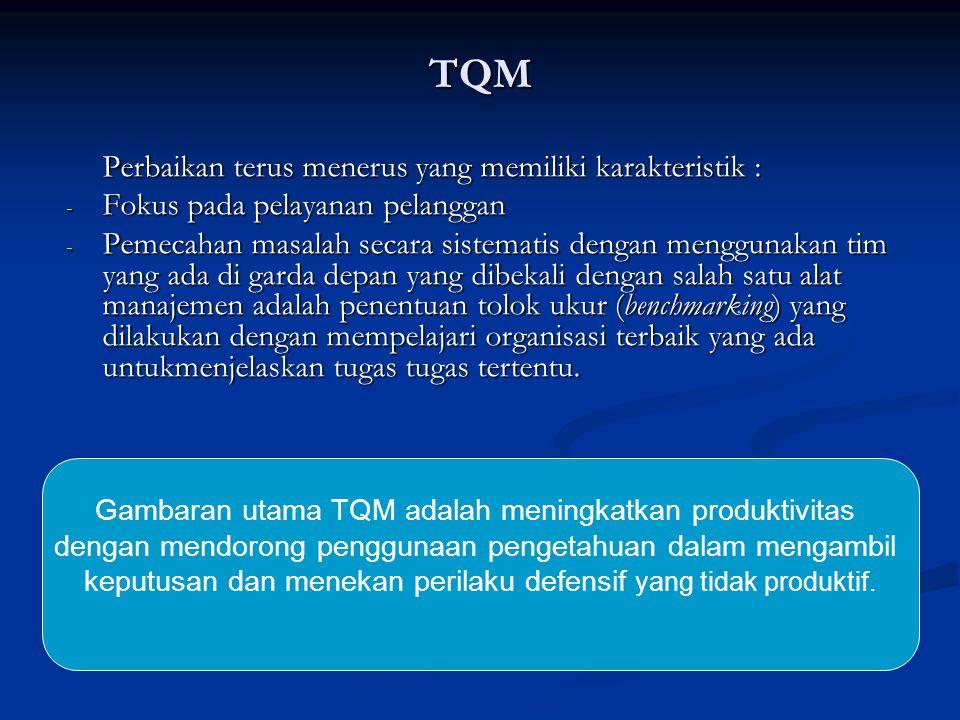 TQM Perbaikan terus menerus yang memiliki karakteristik : - Fokus pada pelayanan pelanggan - Pemecahan masalah secara sistematis dengan menggunakan ti