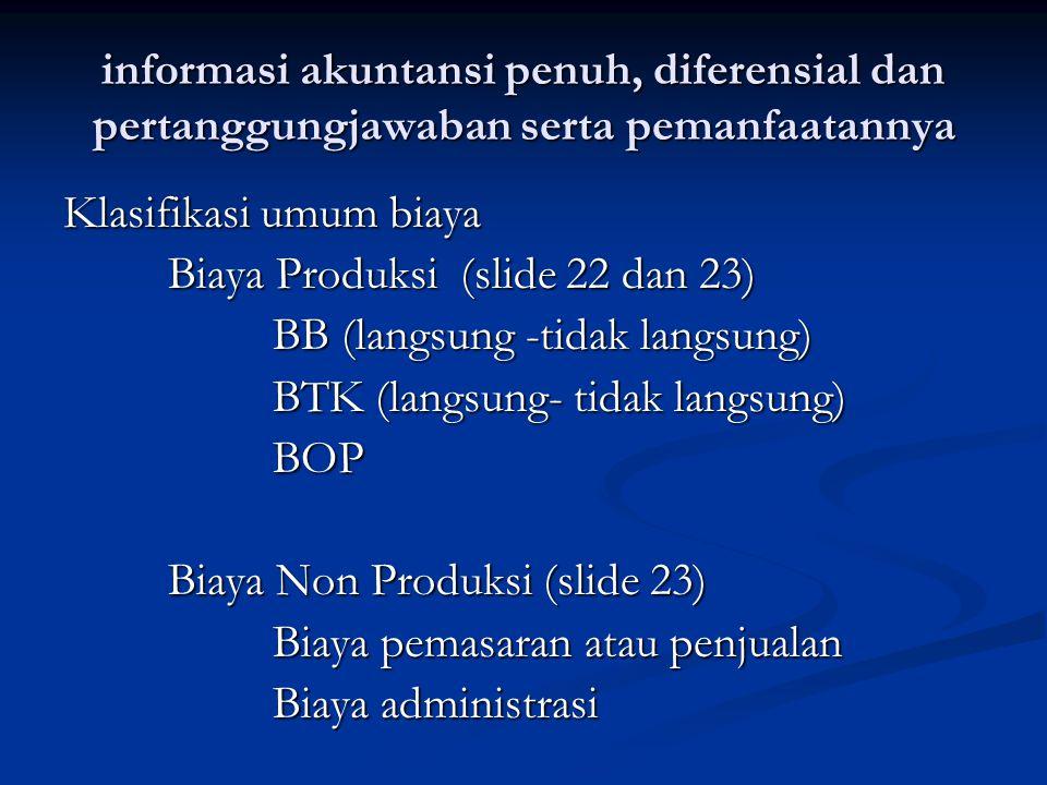 informasi akuntansi penuh, diferensial dan pertanggungjawaban serta pemanfaatannya Klasifikasi umum biaya Biaya Produksi (slide 22 dan 23) BB (langsun