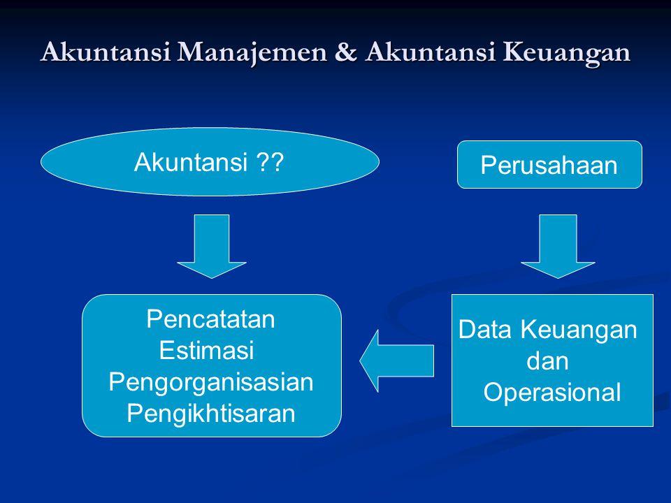 Akuntansi Manajemen & Akuntansi Keuangan Akuntansi ?? Pencatatan Estimasi Pengorganisasian Pengikhtisaran Data Keuangan dan Operasional Perusahaan