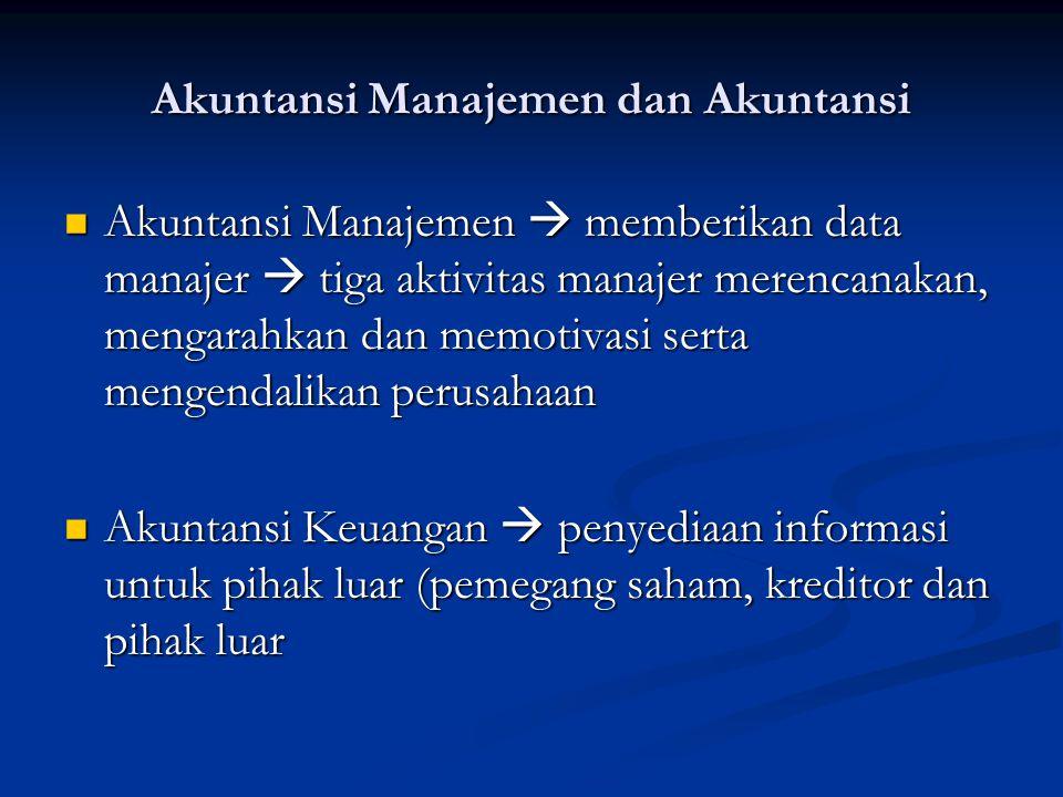 Akuntansi Manajemen dan Akuntansi Akuntansi Manajemen  memberikan data manajer  tiga aktivitas manajer merencanakan, mengarahkan dan memotivasi sert