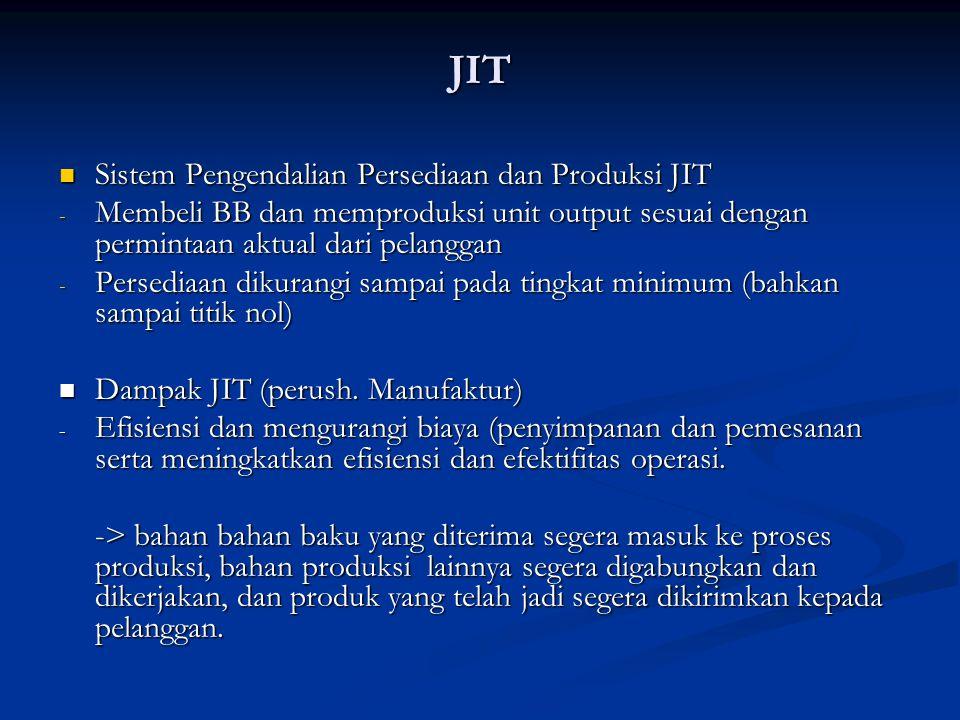 JIT Sistem Pengendalian Persediaan dan Produksi JIT Sistem Pengendalian Persediaan dan Produksi JIT - Membeli BB dan memproduksi unit output sesuai de
