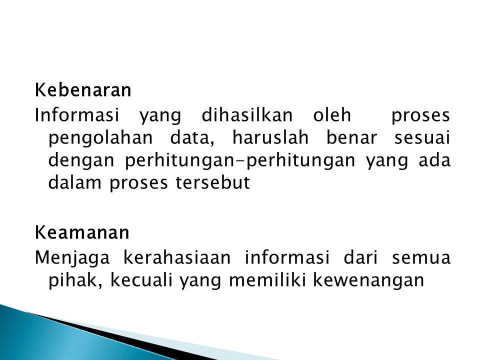Kebenaran Informasi yang dihasilkan oleh proses pengolahan data, haruslah benar sesuai dengan perhitungan-perhitungan yang ada dalam proses tersebut K