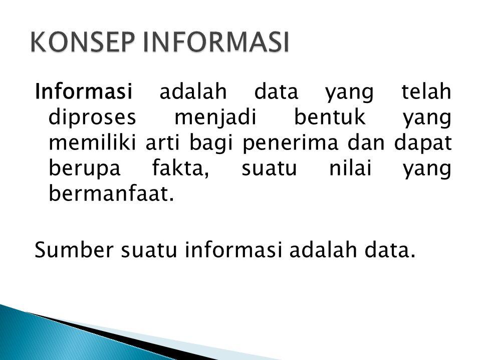 Informasi adalah data yang telah diproses menjadi bentuk yang memiliki arti bagi penerima dan dapat berupa fakta, suatu nilai yang bermanfaat. Sumber